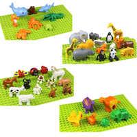 Zwierząt serii zestaw legoing duplo duże cząstki klocki zwierząt sceny świata zabawki edukacyjne dla dzieci dla dzieci