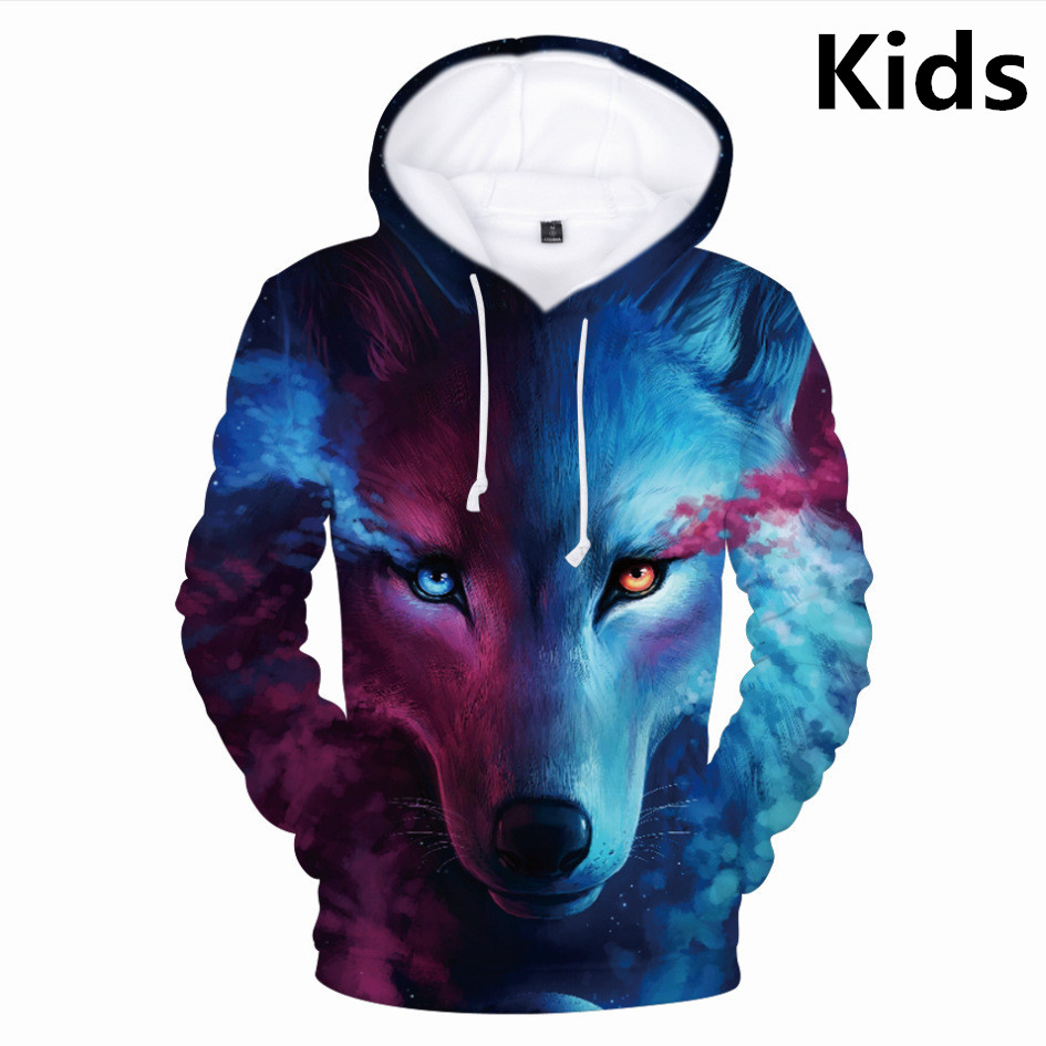 3 To 14 Years Kids Hoodies Wolf 3d Full Print Hoodie Sweatshirt Boys Girls Harajuku Long Sleeve Jacket Coat Children Clothes