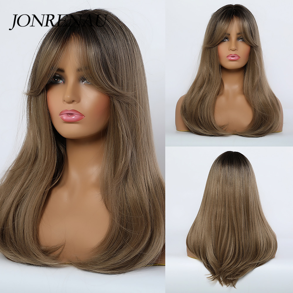 Jonrenau Synthetic Natural Wave Wigs With Side Bangs Black Root Light  Brown Wigs For Black Women Daily Natural Party Wigs