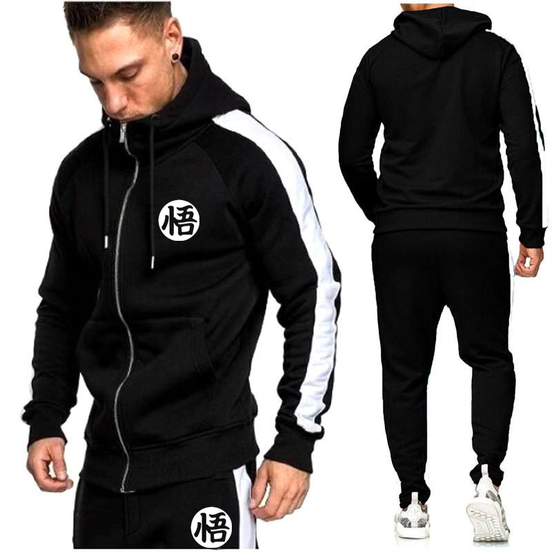 New Brand Zipper Cardigan Tracksuit 2019 Fashion Hoodies For Men Sportswear Two-Piece Sets Of Thick Hooded + Pants Sports Suit