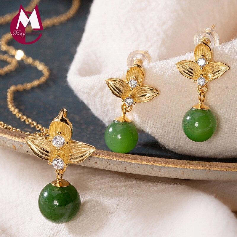 Femmes ensemble 100% réel 925 en argent sterling plaqué or Jasper perle collier pendentif boucle d'oreille mariage africain bijoux ensembles 2019 S05