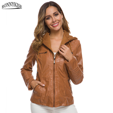 RONNYKISE Hooded Jackets and Coats Womens Fashion Long Sleeve Detachable Hood Zipper Lace Up Auntumn Winter Warm Outfits Clothes недорого