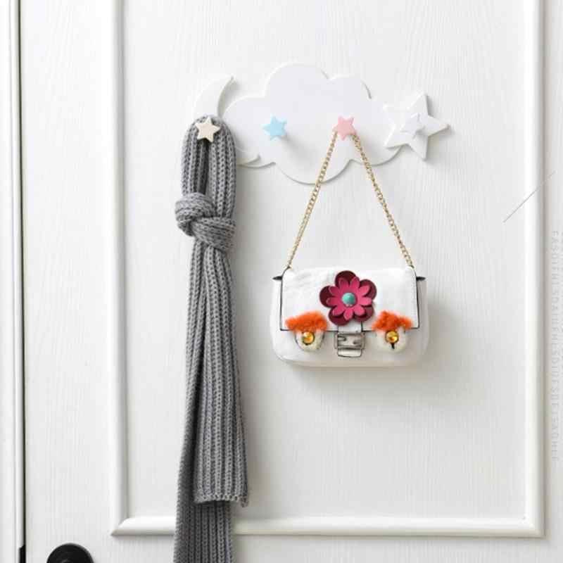 Kunststoff Stern Wolke Haken Kleidung Lagerung Hanger Rack Selbstklebende Wand Montiert Mantel Haken Kid Kinder Zimmer Dekoration