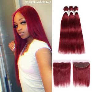 99j/borgonha cor vermelha brasileiro feixes de cabelo humano em linha reta com frontal 13x4 kemy pré-colorido 3 pacotes com fechamento não remy