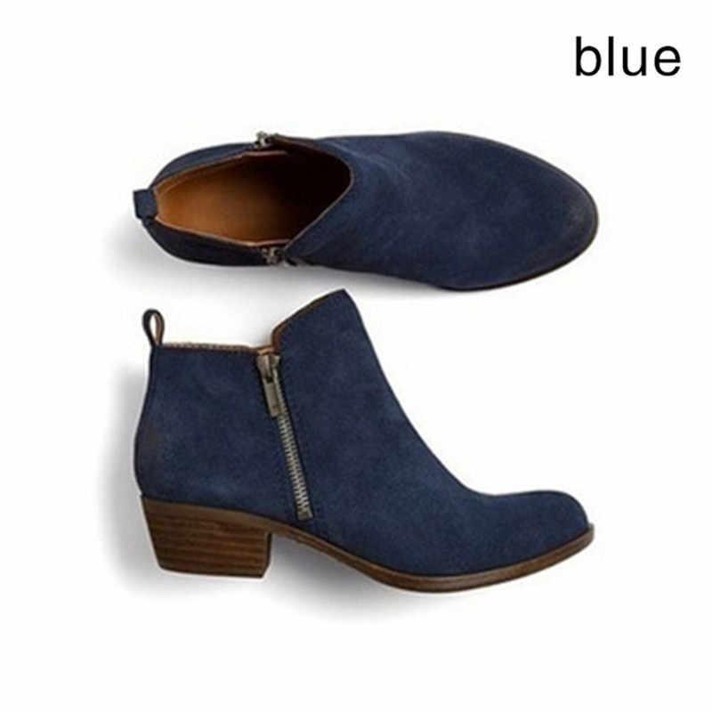 Kış Çizmeler kadın yarım çizmeler Kadınlar Için yuvarlak Ayak Kare Topuk Platformu fermuar Bayanlar Ayakkabı Bota Feminina