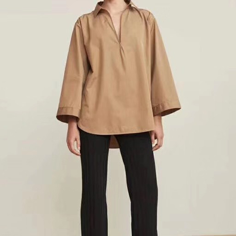 Oversize wide sleeved v neck a line round hem shirt pure white camel tops