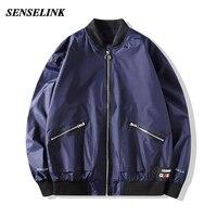 Chaqueta Bomber informal para hombre, uniforme de béisbol holgado japonés de talla grande, abrigo fino, azul oscuro, M-5Xl, otoño de 2021