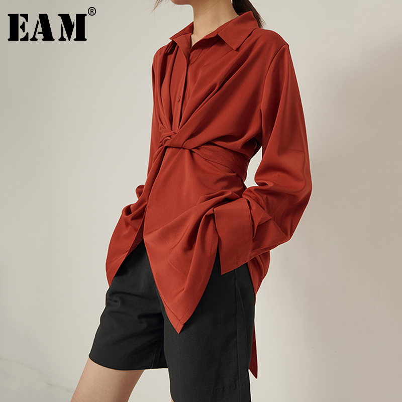 [EAM] Women Red Knot Bandage Temperament Blouse New Lapel Long Sleeve Loose Fit Shirt Fashion Tide Spring Autumn 2020 1S310