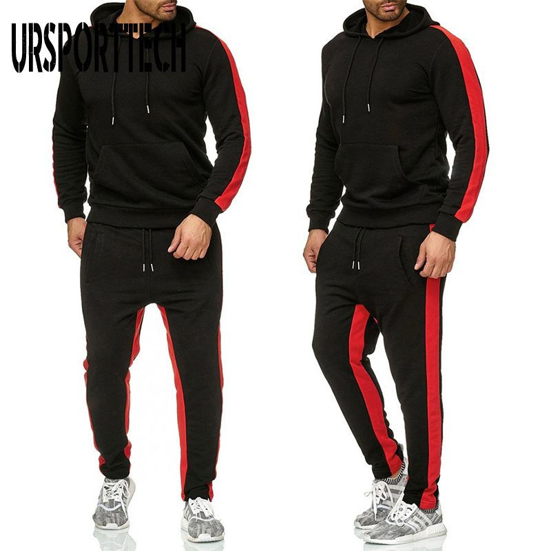 2 Pieces Sets Tracksuit Men New Brand Autumn Winter Hooded Sweatshirt +Drawstring Pants Male Stripe Patchwork Hoodies Plus Size