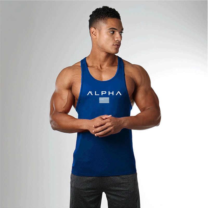 Pria Kebugaran Singlet Tanpa Lengan Katun Otot Guys Undershirt untuk Anak Rompi Gym Pakaian Binaraga Tank Top