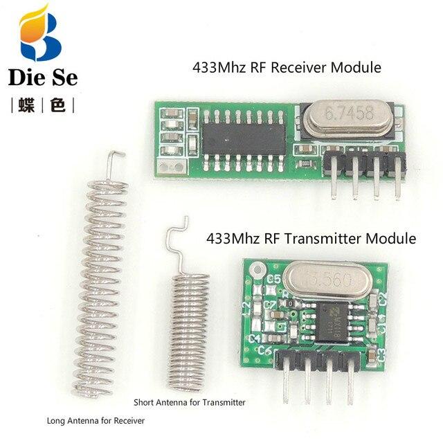Módulo receptor RF superheterodino de 433 Mhz y módulo transmisor con antena para Arduino DIY Kit 433 Mhz controles remotos