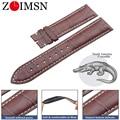 ZLIMSN подлинный крокодиловый ремешок ручной работы часы с ремешком из крокодиловой кожи Ремешки 20 мм для Longines  предоставляющие индивидуальны...