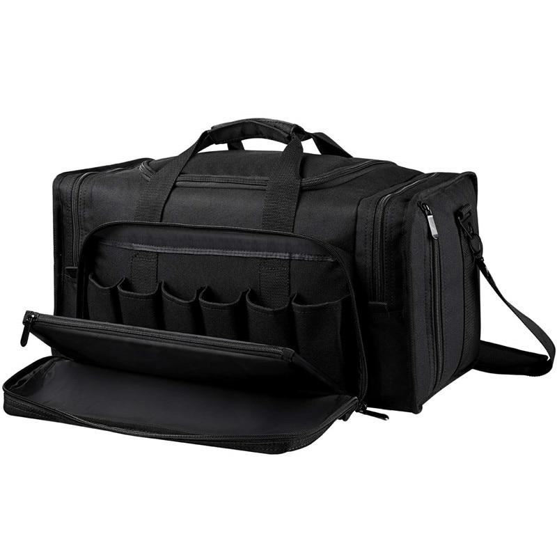 SoarOwl taktik silah aralığı çantası çekim silindir çanta tabancalar için tabanca kilitlenebilir fermuar ve ağır Antiskid ayak siyah