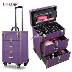 Koffer für Make-Up, Kosmetik Tasche mit Rad, Nägel Toolbox Kosmetikerin Gepäck Tätowierer Box mit Roll, barber Trolley