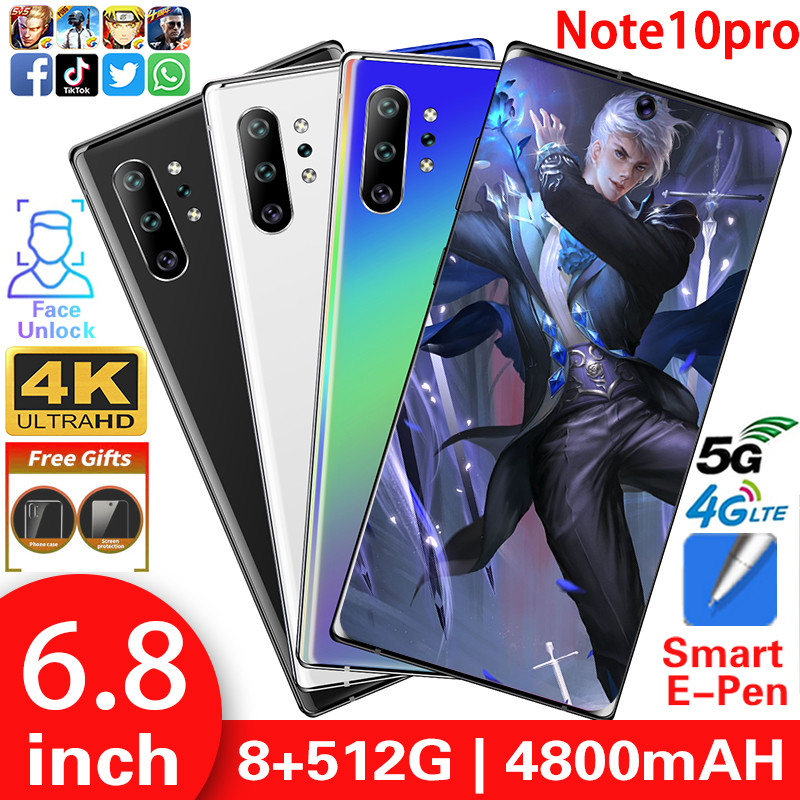 Unlocked Cell Phones Note10pro Smartphone MTK6799 Mobile Phone 6.8inch HD Cell Phone 5G Cellphone 8GB+512GB 13MP+24MP