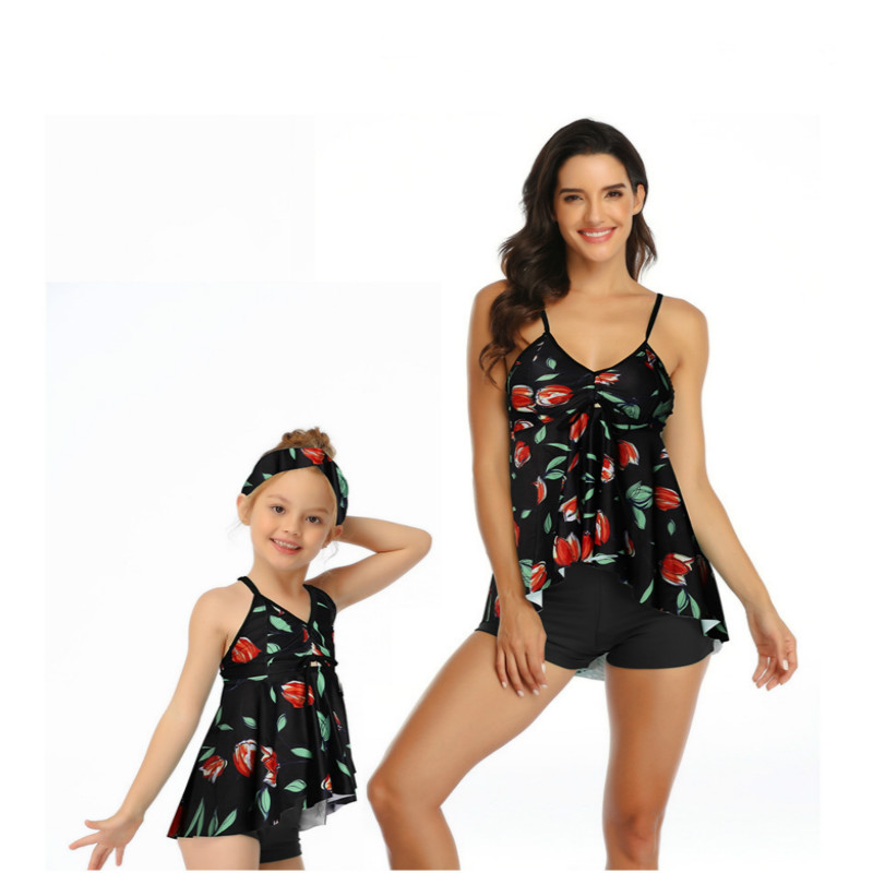 2019 Summer Mother And Daughter Swimsuit Printing Piece Double Lotus Leaf Parent-Child Swimwear Family Matching Swimsuit Outfits