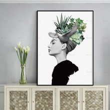 Abstract Poster Wall Art Pictures Print Figure Canvas Painting for Living Room Modern Prints Flowers Portrait modern inspirational nordic flowers plants combination canvas painting zebra poster and prints living room decorative painting