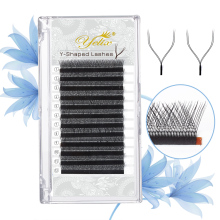Yelix YY Shape Eyelashes Extensions Two Tip lashes C/D Curl Hand-woven High quality wimpers individual eyelashes soft