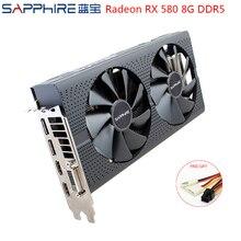 SAPPHIRE AMD Radeon RX580 8GB GDDR5 karta graficzna PC karty do gry wideo RX 580 256bit 8GB GDDR5 na komputer do gier używany RX580