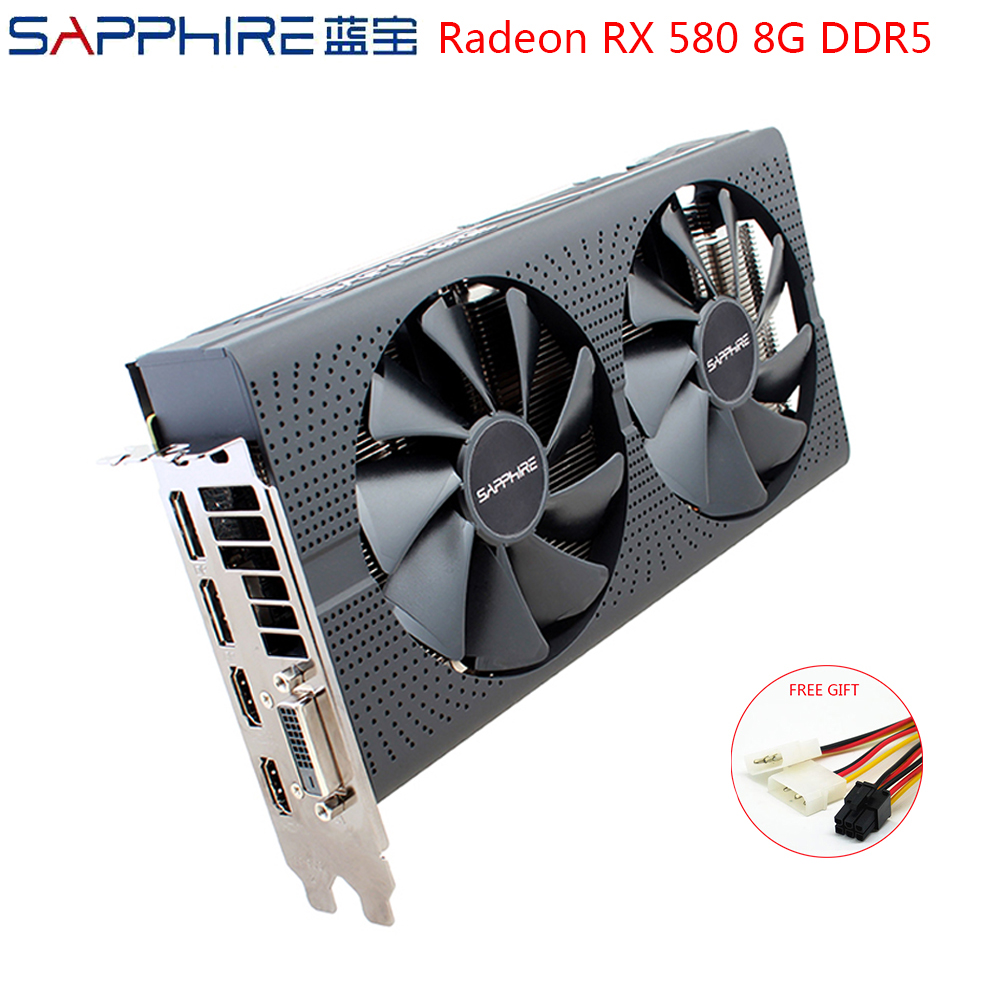 SAPPHIRE AMD Radeon <font><b>RX580</b></font> 8GB GDDR5 Graphic Card PC Gaming Video Cards RX 580 256bit 8GB GDDR5 For Gaming Computer Used <font><b>RX580</b></font> image