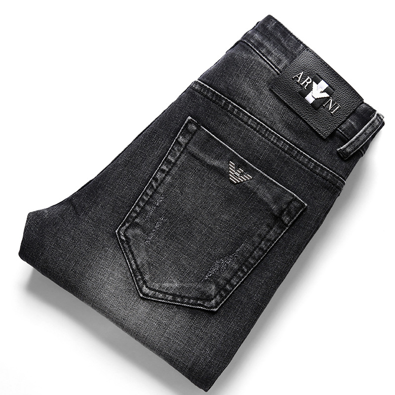 International Brand Men Boutique Jeans Men's Elasticity Pure Cotton Slim Fit Straight-Leg Trousers Men's Fashion Paragraph Four