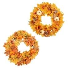 45cm Artificial Pumpkin Wreath Autumn Maple Leaf Garland Door Hanging Decoration