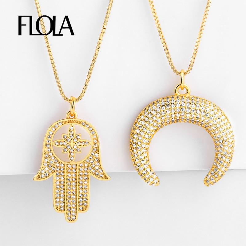 Collar de mano de Fátima lleno de oro de FLOLA para mujer Zirconia cuerno media luna colgante CZ joyería collar de mano de Fátima nkep48