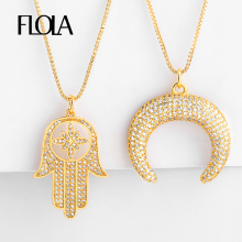 FLOLA Gold Filled Fatima Hand Necklace For Woman Zirconia Crescent Horn Pendant CZ Jewelry collar mano de fatima nkep48