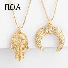 FLOLA oro mano de Fatima collar para mujer Zirconia cuerno media luna colgante CZ de la joyería collar de mano de Fátima nkep48