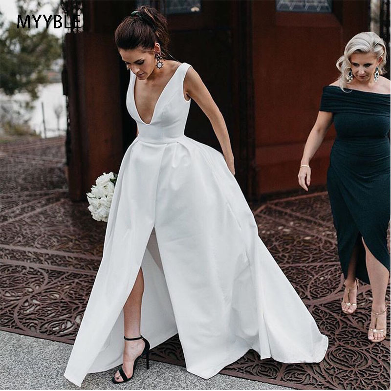 2020 Sexy A-line Wedding Dresses Deep V-neck White Ivory Satin Wedding Gowns Front Split Custom Made Beach Bridal Dresses Simple