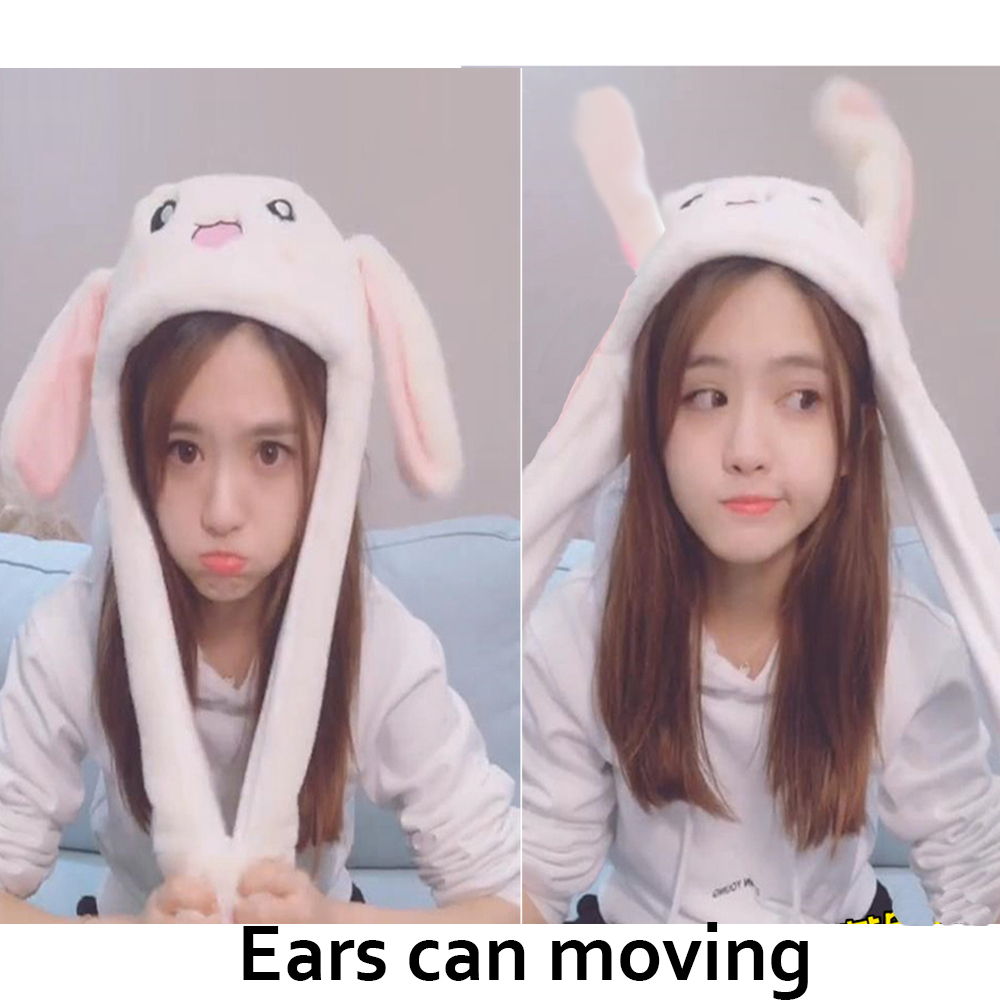 Toys Rabbit Hat With Moving Ears Cute Cartoon Toy Hat Airbag Kawaii Funny Toy Cap Kids Plush Toy Birthday Gift  Hat For Girls