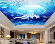 Modern Home Decoration Wallpaper Blue Underwater Jellyfish And Dolphin Living Room Bedroom Zenith Wallpaper haokhome modern heavy texture loft pvc wallpaper iron blue black silver home living room bedroom office bar wall decoration
