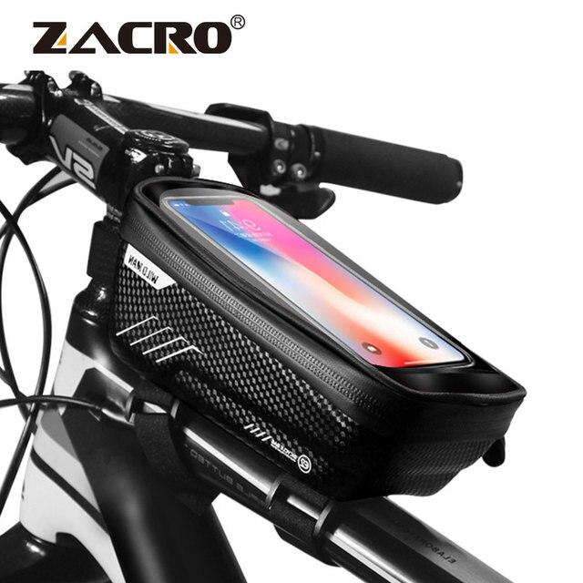 Saco de bicicleta frente à prova dwaterproof água ciclismo saco 6.2 polegada do telefone móvel bicicleta superior tubo guiador sacos mountain ciclismo acessórios 1