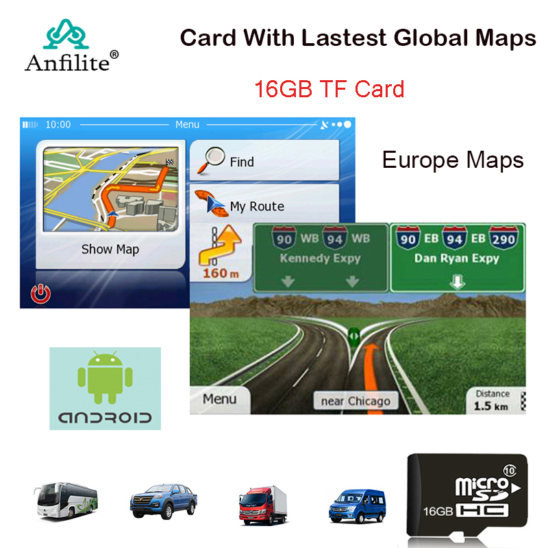 Anfilite GPS Navigation 16GB Micro SD Card Map 2018 Latest Map For Android Car Gps Navigation Map Europe/Russia/USA/Canada/Au/IL