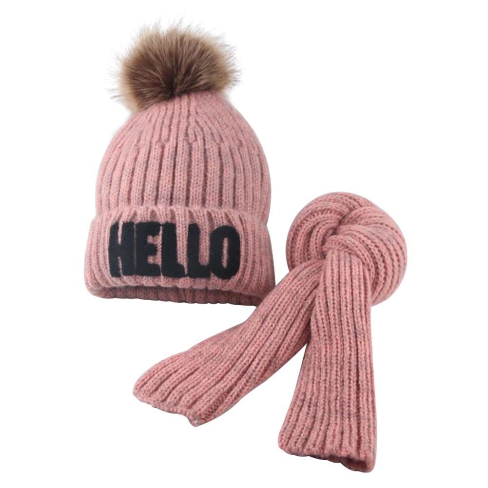 Boy Girls Winter Warm Cute HELLO Letter Pompom Knitted Beanie Cap Scarf Sets For Children Kids Outdoor