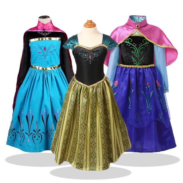 Платье для девочек; Рождественский карнавальный костюм Анны и Эльзы; Платья принцессы для девочек на день рождения; Одежда Снежной Королевы для маленьких девочек