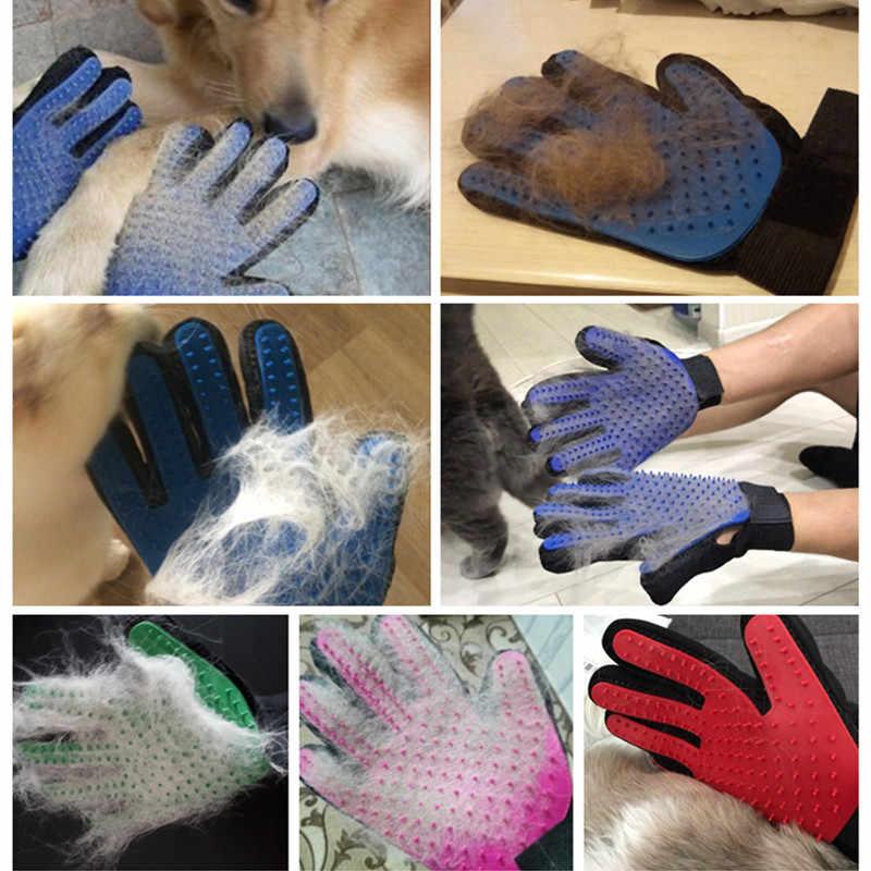 Sıcak Pet köpek kedi bakım fırçası eldiven Pet saç Deshedding tarak fırça yavru köpek masaj yıkama fırçası eldiven hayvan kedi köpek