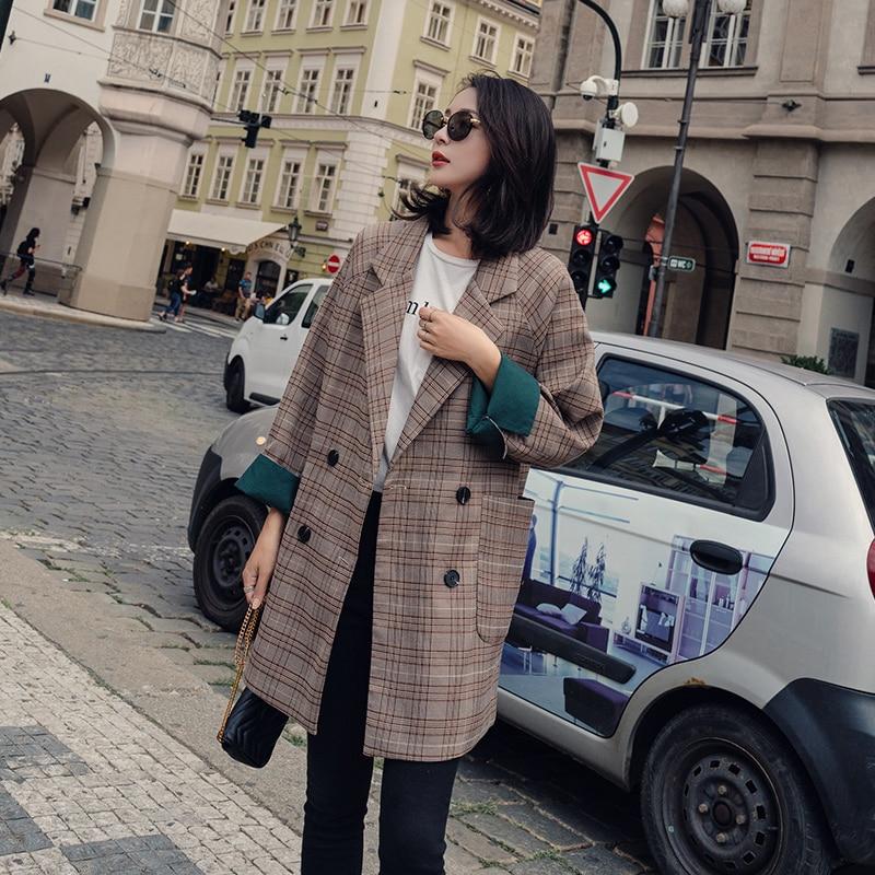 Plaid Stylish Ladies Blazer Brown Simple Loose Casual Suit Jacket Retro Veste Femme Korean Women Blazer Spring Autumn MM60NXZ