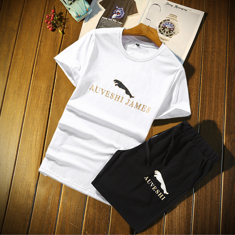 Cross Border For Summer Korean-style Men Leisure Sports Suit Men's JAGUAR Printed Teenager Short Sleeve Two-Piece Set Men's