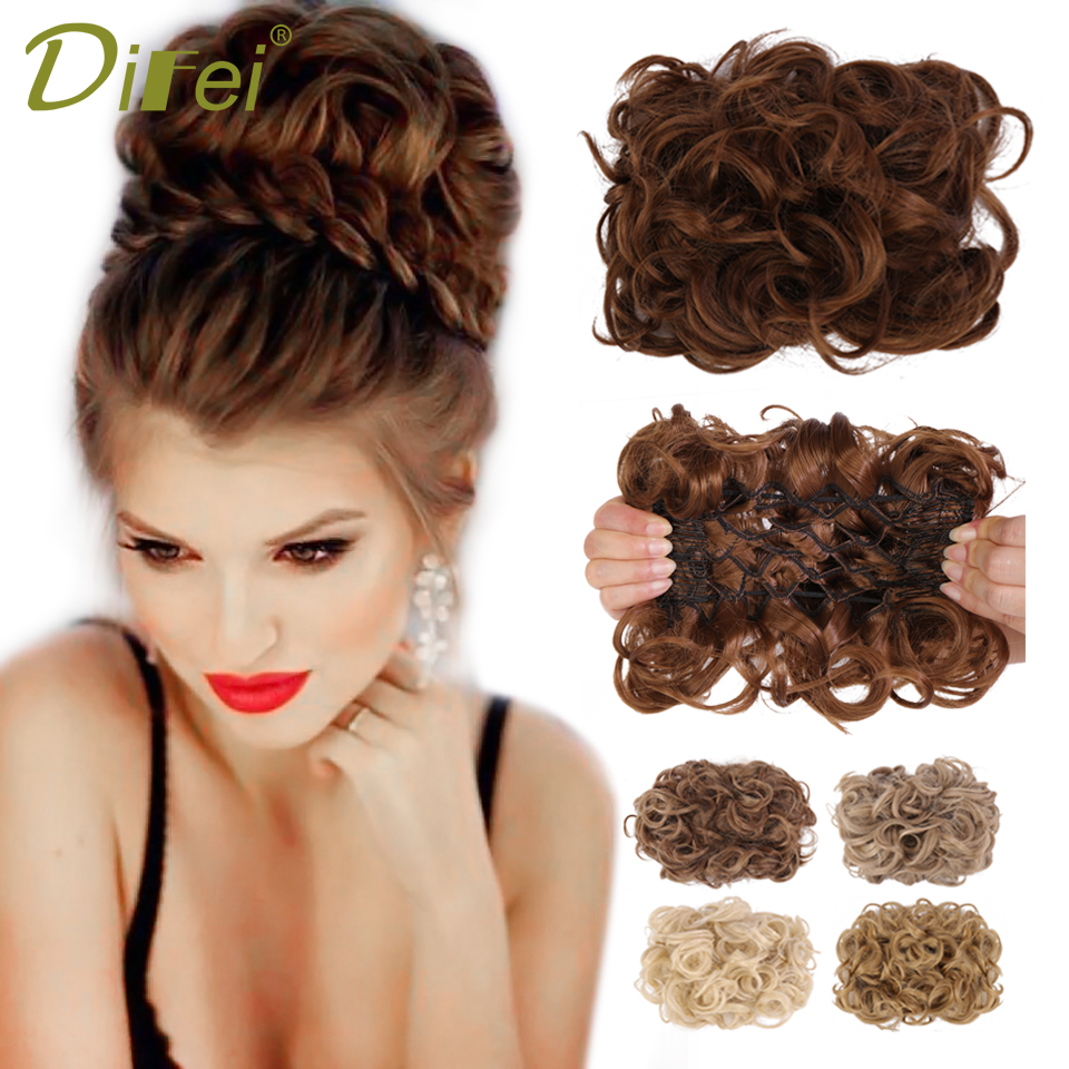 DIFEI Synthetic Messy Wavy Curly Hair Bun Elastic Scrunchies With Two Plastic Comb Clip in hair Extensions Hairpiece Brown Black