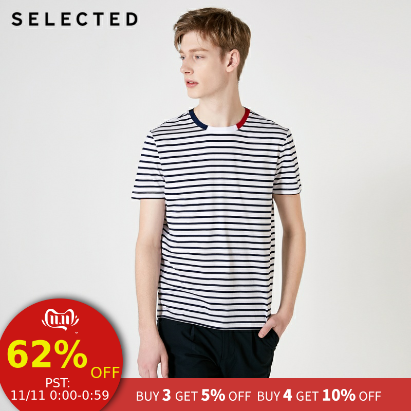 SELECTED Men's Summer 100% Cotton Splice Stripe Short sleeved T shirt S419201505-in T-Shirts from Men's Clothing on AliExpress - 11.11_Double 11_Singles' Day 1
