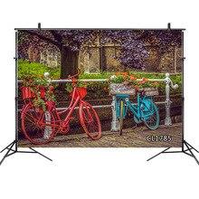Retro bicicleta primavera paisaje planta flor fotografía fondos nórdico Vintage fotografía fondos accesorios para estudio fotográfico