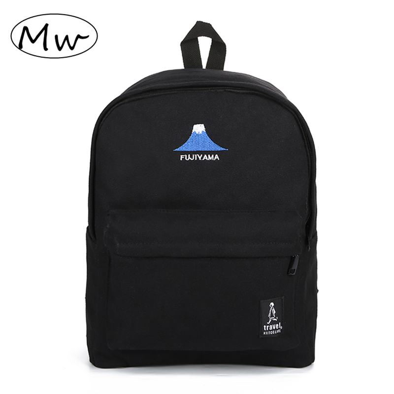 Black Travel Backpack Canvas School Backpack For Teenage Girls Embroidery Letter Pattern Laptop Bagpack Mochilas