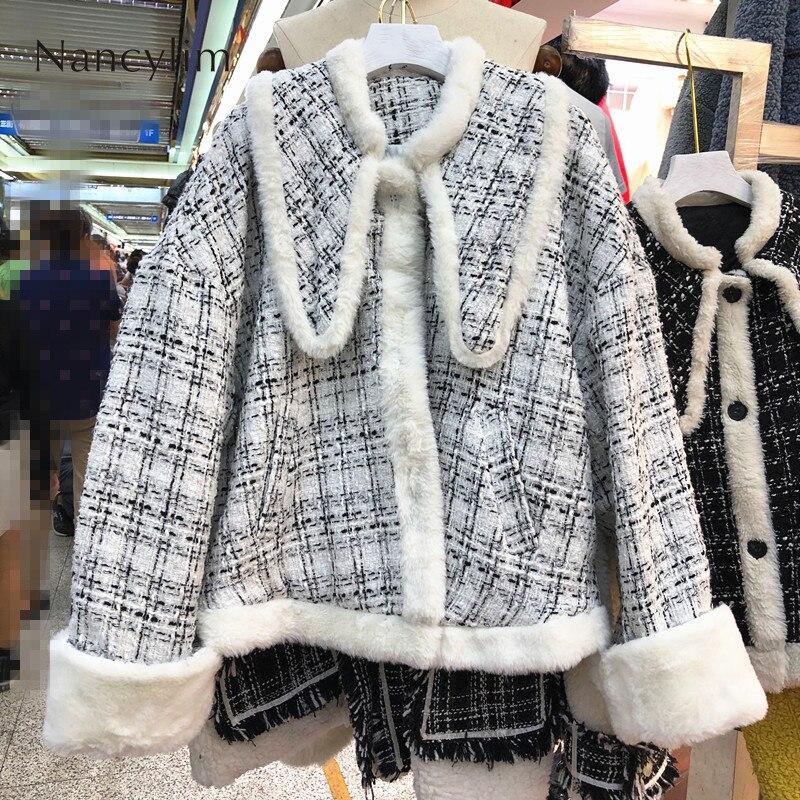 Ins Fashionlamb Wool Jacket Wool Coat   Parka   Women Winter Short-style Thick Small Fragrant Wool Cotton Coat Students Overcoat