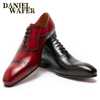 LUXURY MEN GENUINE LEATHER SHOES HANDMADE MAN'S OFFICE WEDDING DRESS SHOES RED BLACK CAP TOE LACE UP POINTED TOE OXFORD SHOE MEN
