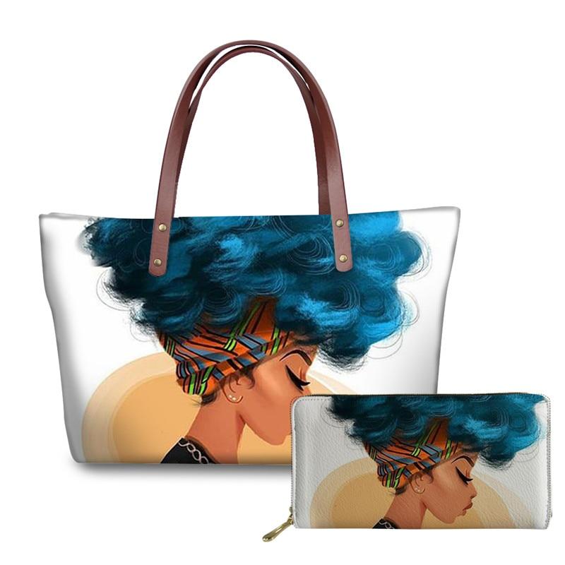 ELVISWORDS Brand Luxury Design Handbags Women Black Art African Girl Printing 2pcs/set Hand Bag&Wallet Females Top-Handle Bags