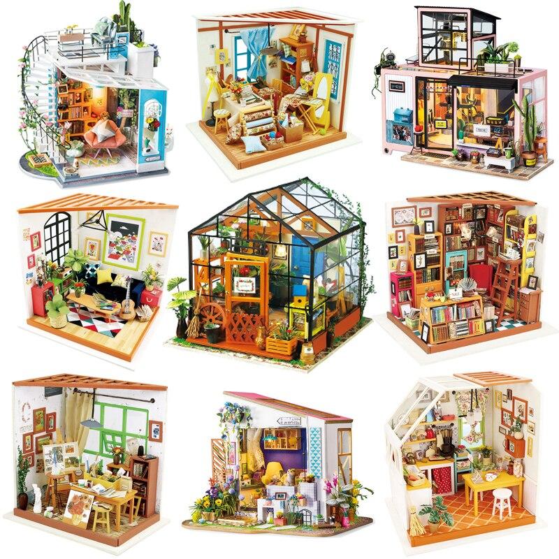 Набор деревянных кукольных домиков Robotime 3D DIY миниатюрный кукольный домик мебель игрушки для детей подарки на день рождения лучшая коллекци...