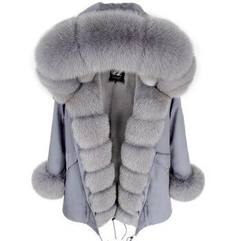 Mao mao kong hiver femme noir moyen vestes outwear épais parkas naturel réel fourrure de renard manteau veste femme manteau de fourrure femme 1