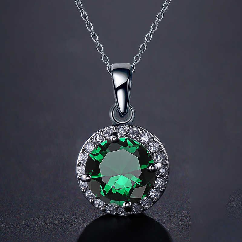 ZAKOL prosta biżuteria srebrny kolor okrągły kształt CZ cyrkonia naszyjnik dla kobiet biżuteria ślubna FSNP1004