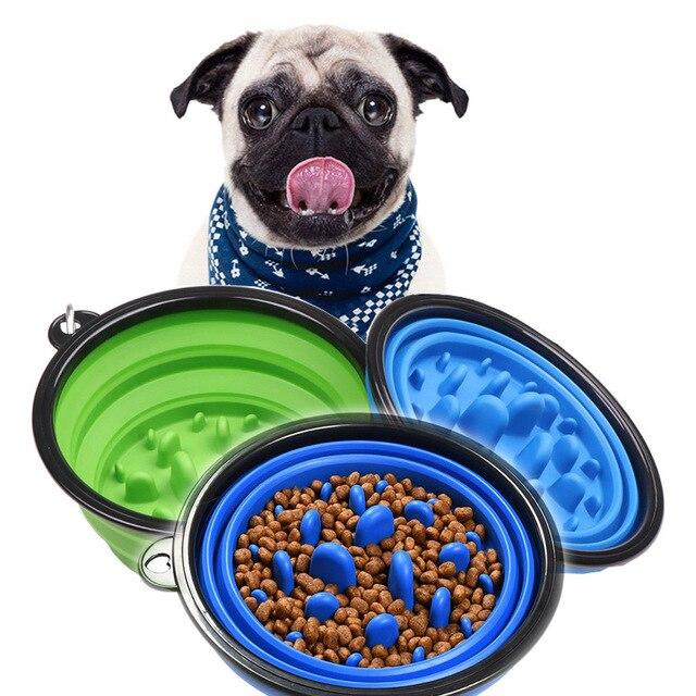 1000ML Slow Food Dog Bowl Folding Silicone Pet Bowls Portable Travel Bowl For Dogs Interesting Developmental Pet Dish